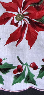 vintage Christmas hanky with Poinsettas