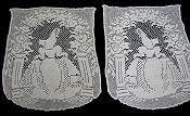 pair figural filet crochet lace doilies