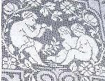 figural filet lace pillow sham