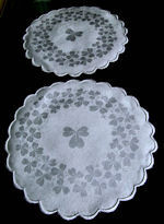 pair Irish linen damask vintage doilies