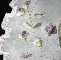 table topper with society silk violets