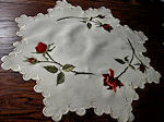 vintage antique linens, lace hankies society silk embroidered table topper