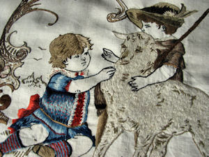 vintage antique embroidered picture or pillow front children