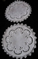 vintage antique pair whitework doilies