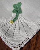 vintage irish linen hanky figural lace