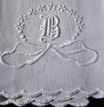 vintage antique linens, lace hankies monogrammed huck linen towel