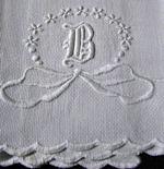 vintage antique linens, lace hankies monogrammed huck linen towel