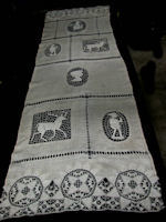 vintage antique linen anf figural lace table runner