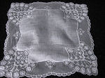 vintage antique linens, lace hankies limerick lace wedding hankie