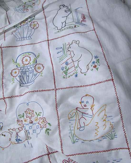 close up 4 antique double bedspread child's theme, kewpies, Winnie the Pooh, etc