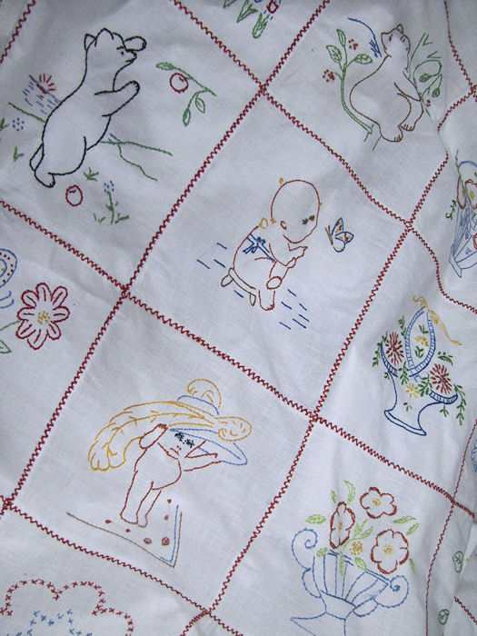 close up 5 antique double bedspread child's theme, kewpies, Winnie the Pooh, etc