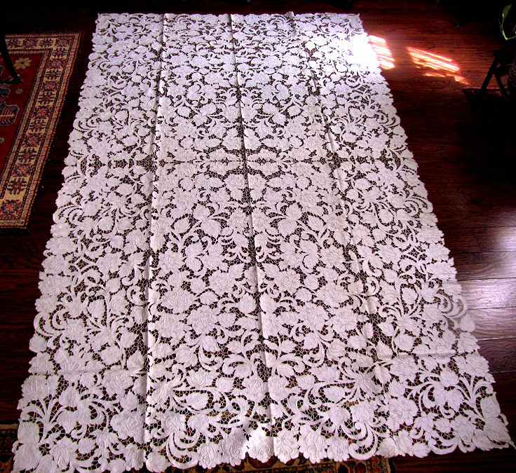 vintage antique white linen tablecloth handmade lace and embroidery