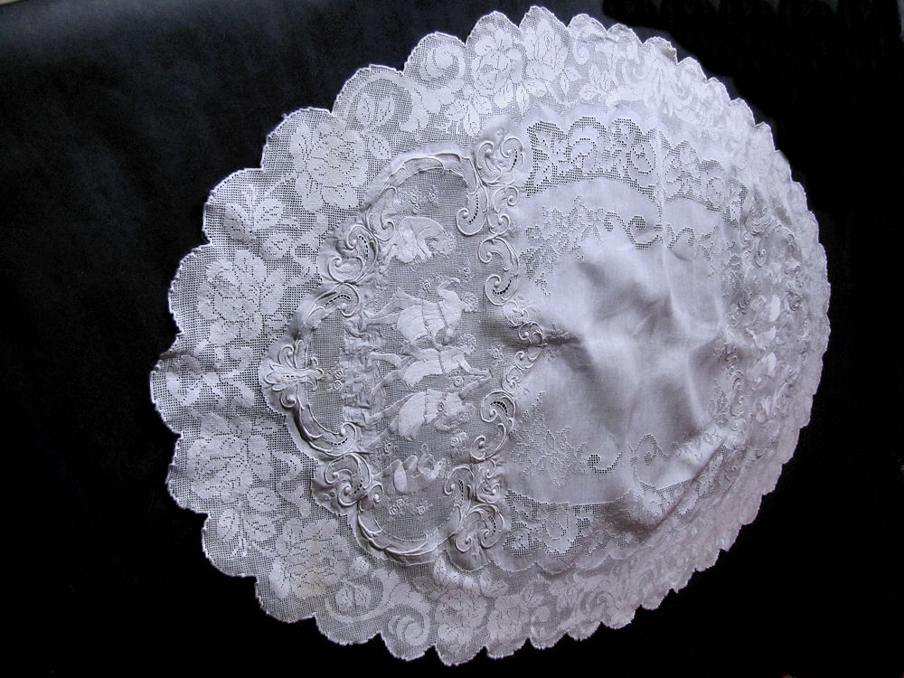 vintage antique table runner handmade figural appenzell lace