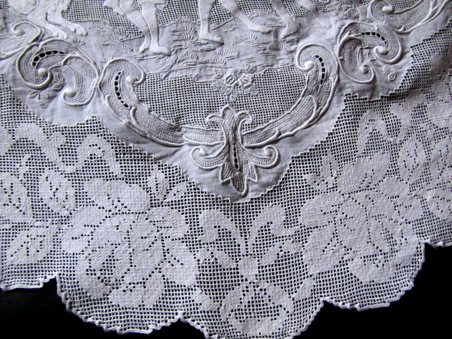 close up 3 vintage antique table runner handmade figural appenzell lace