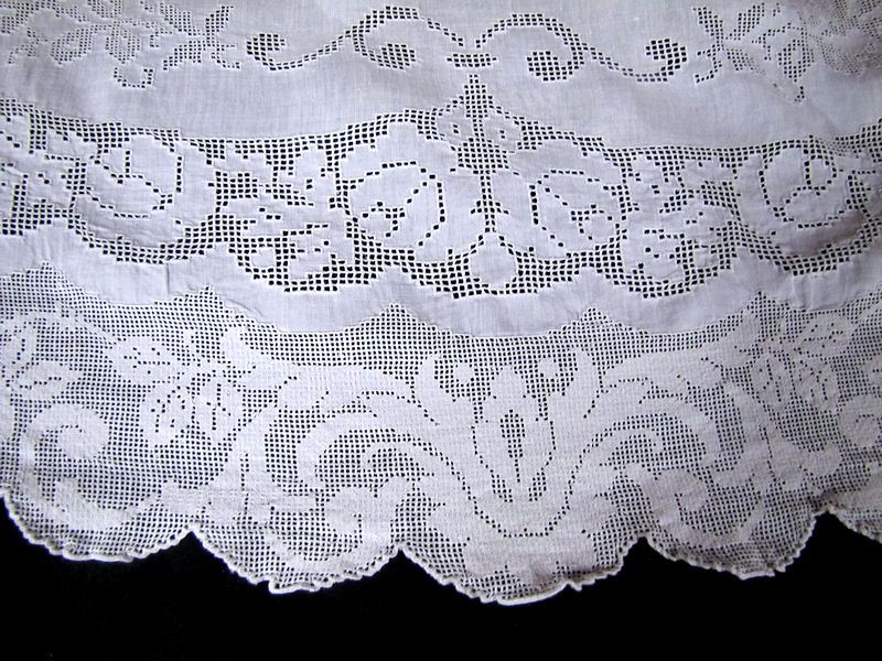 close up 4 vintage antique table runner handmade figural appenzell lace