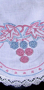 vintage antique table runner dresser scarf French knots