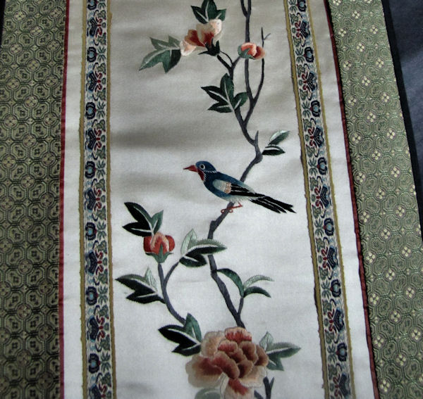 vintage antique table runner handmade oriental bird