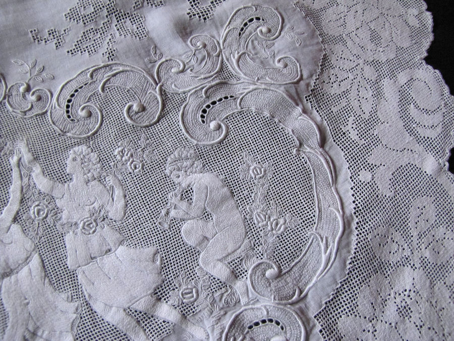 close up 5 vintage antique table runner handmade figural appenzell lace