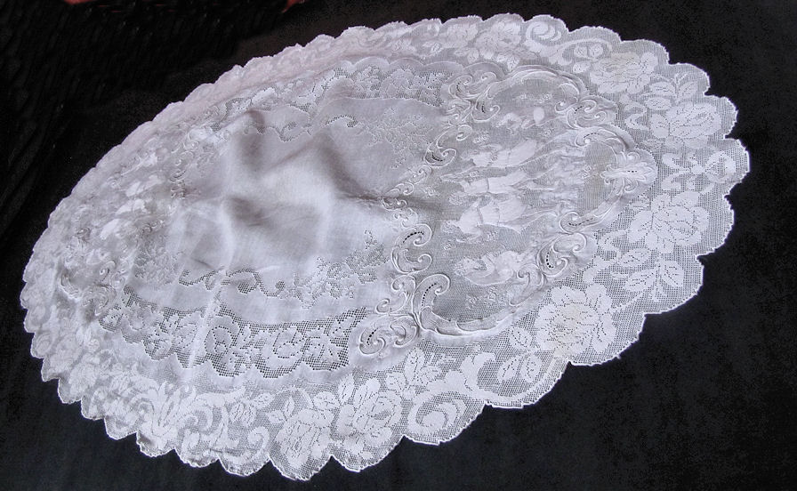 close up 7 vintage antique table runner handmade figural appenzell lace
