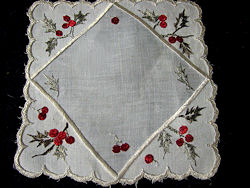 holly society silk embroidered doily