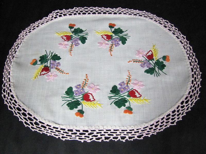 vintage antique table topper vivid flowers