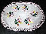 vintage antique linen table topper vivid flowers handmade lace