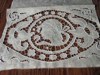 vintage figural lace pillow cover before