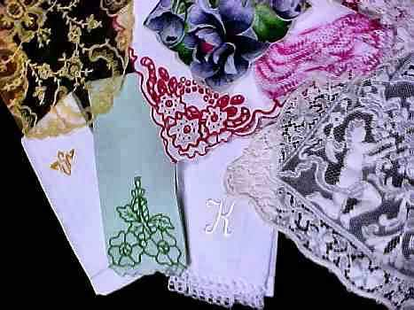 vintage antique linens, lace hankies photo 1